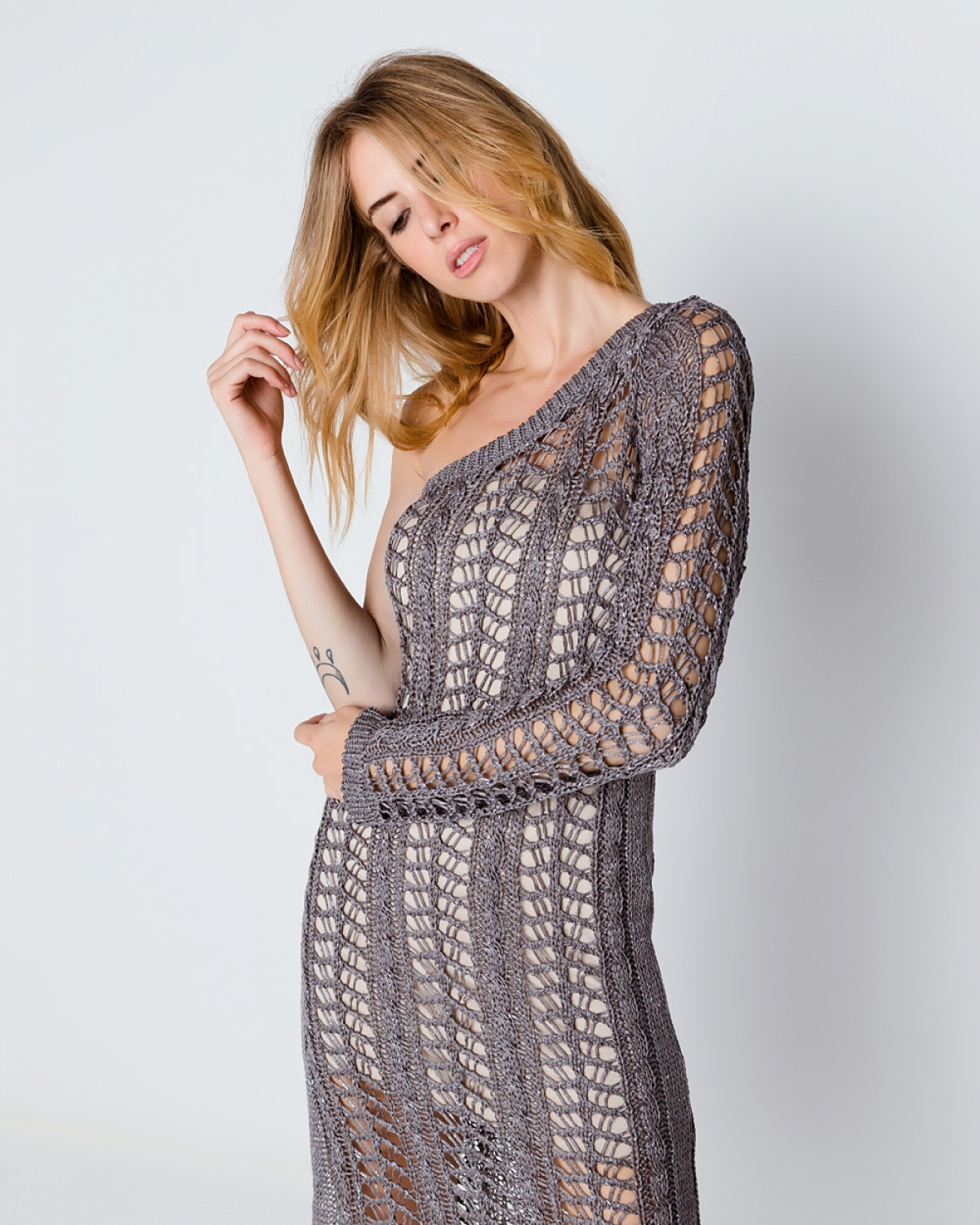 Crocheted Grey Lace One Sleeve Dress