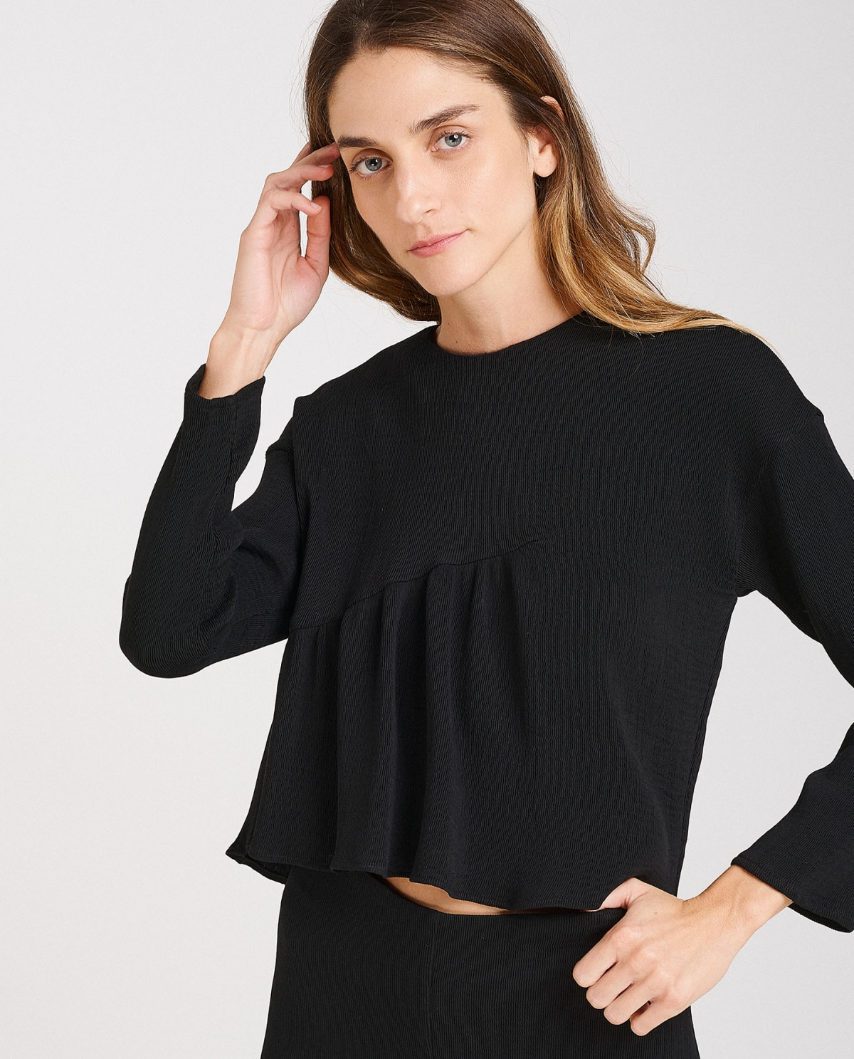 Cropped Top With Gathering