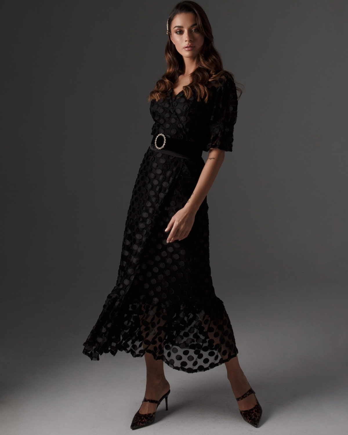 Crouaze Polka Dot Midi Dress
