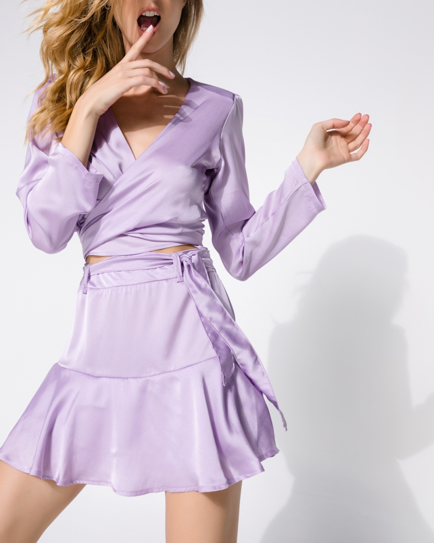 Daria Satin Neutral Pink Skirt