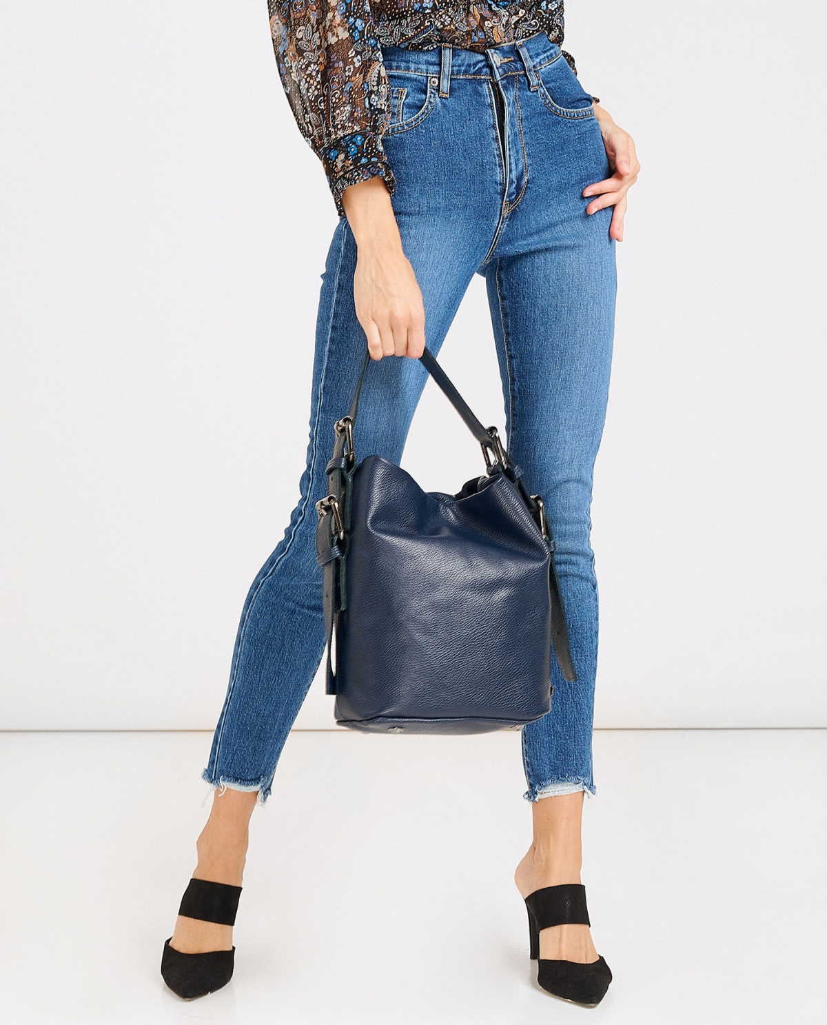 Day to Evening Blue Large Pouch Bag