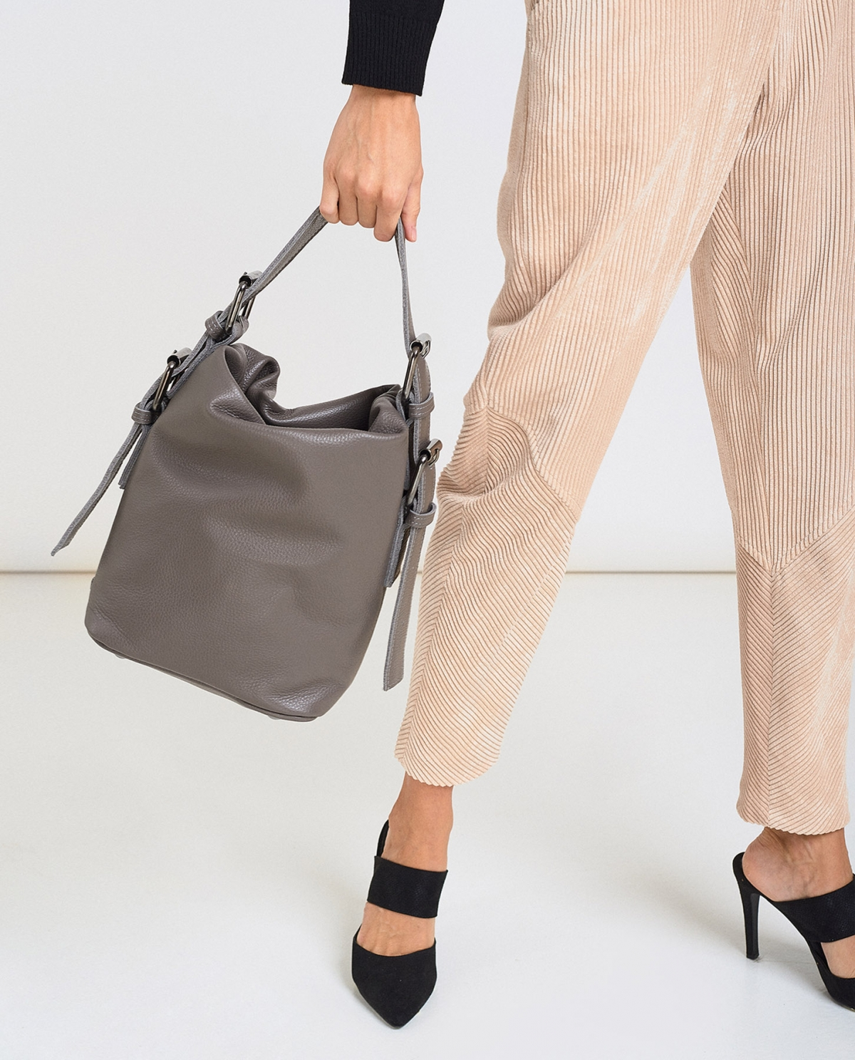 Day to Evening Grey Large Pouch Bag