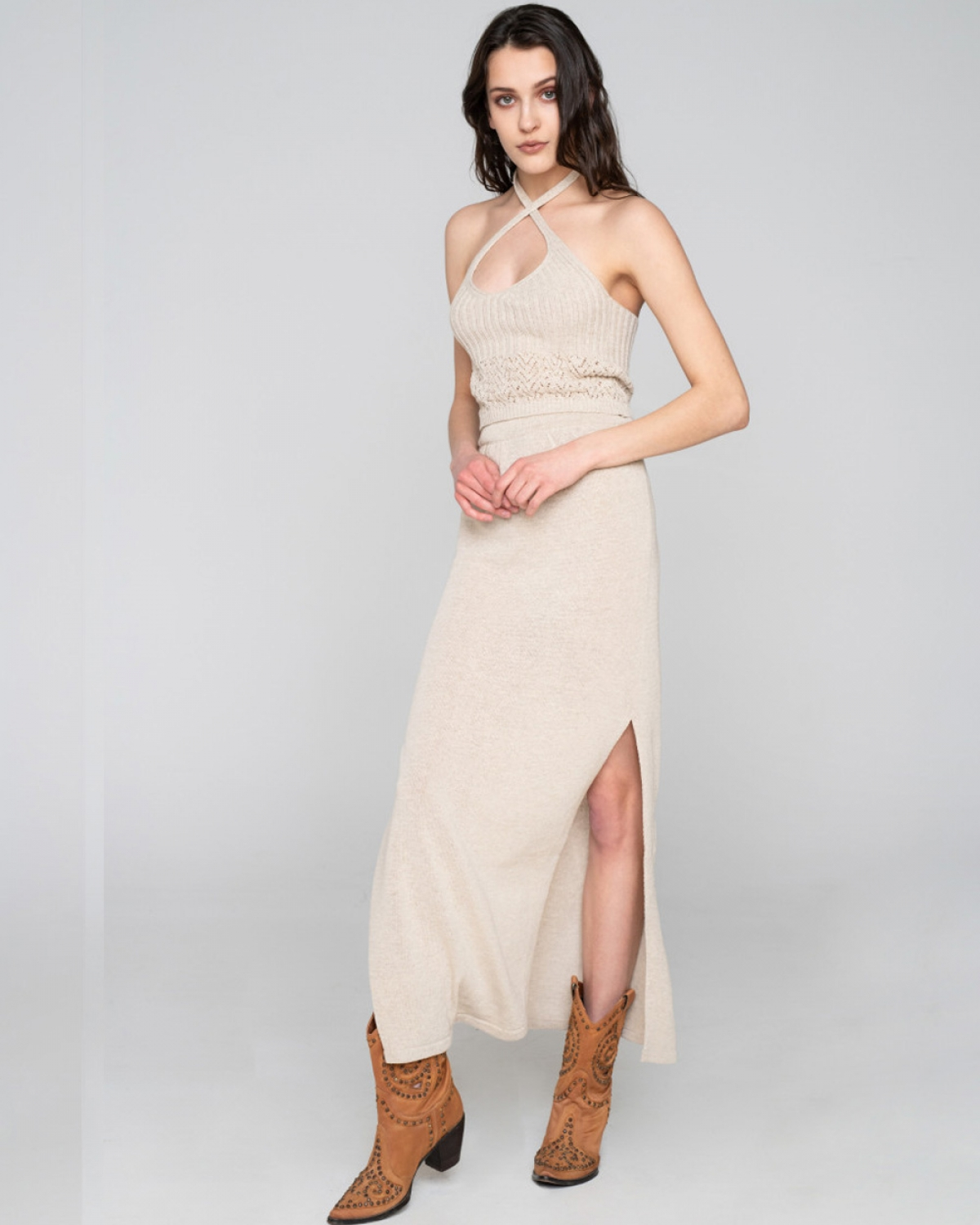 Desert Knit Skirt Beige