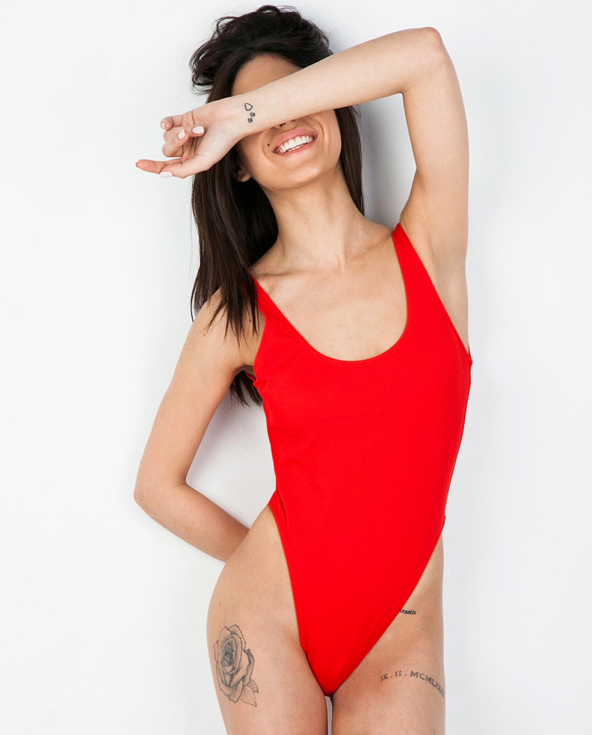 Domenico Red Ribbed Swimsuit