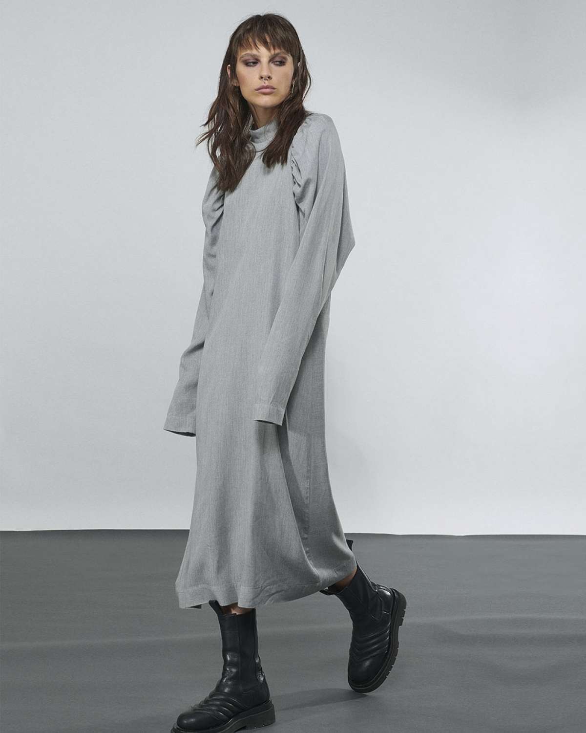 Dress With Gathered Sleeves