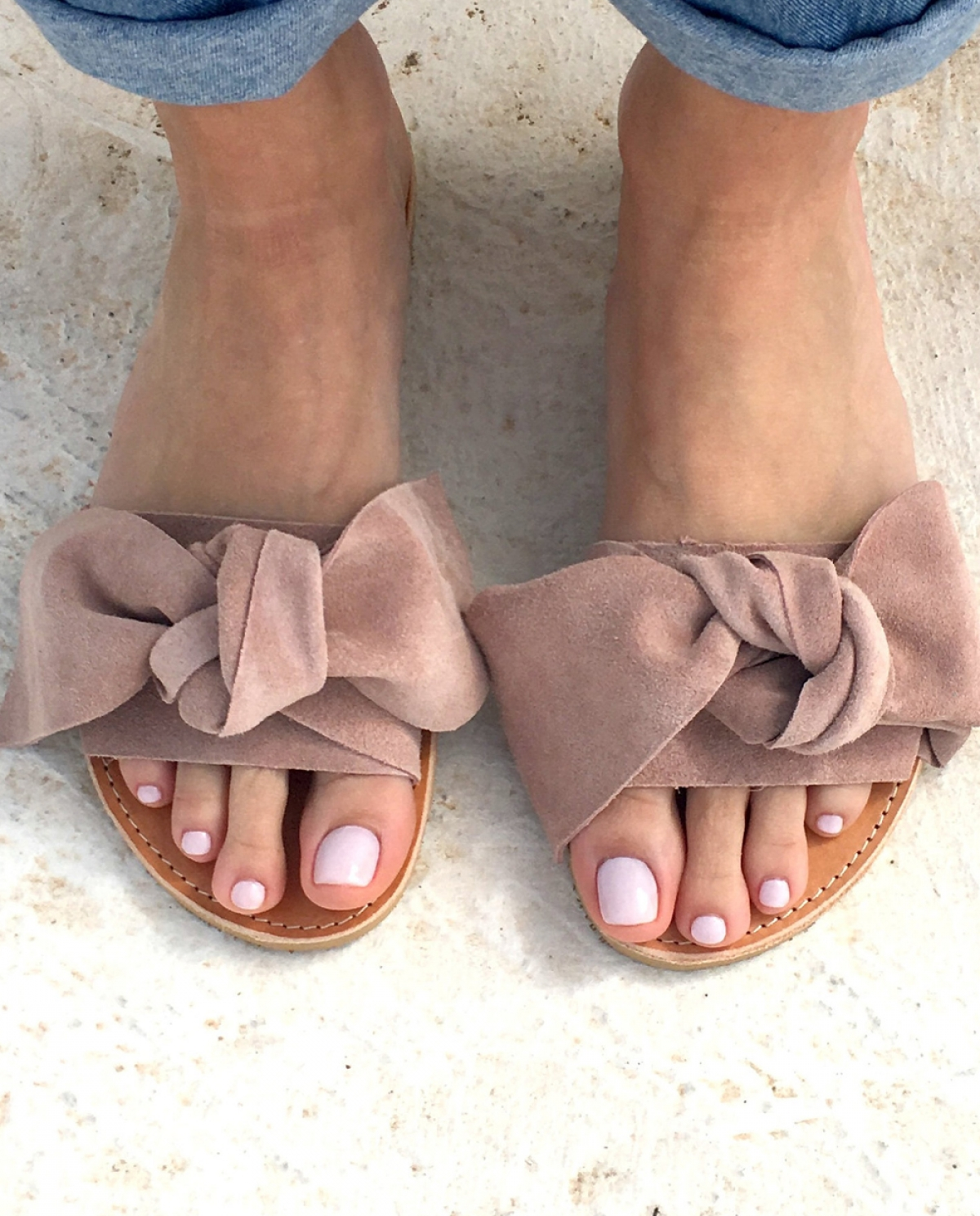 Dusty-pink Bow-embellished Slides