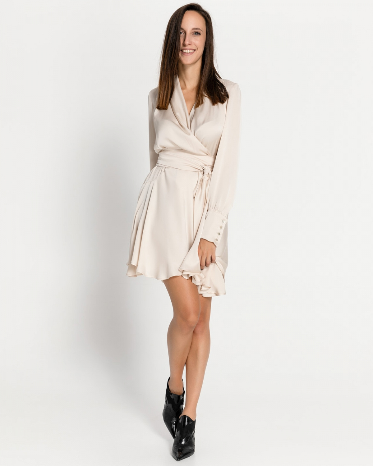 Ecru Silk Mini Dress