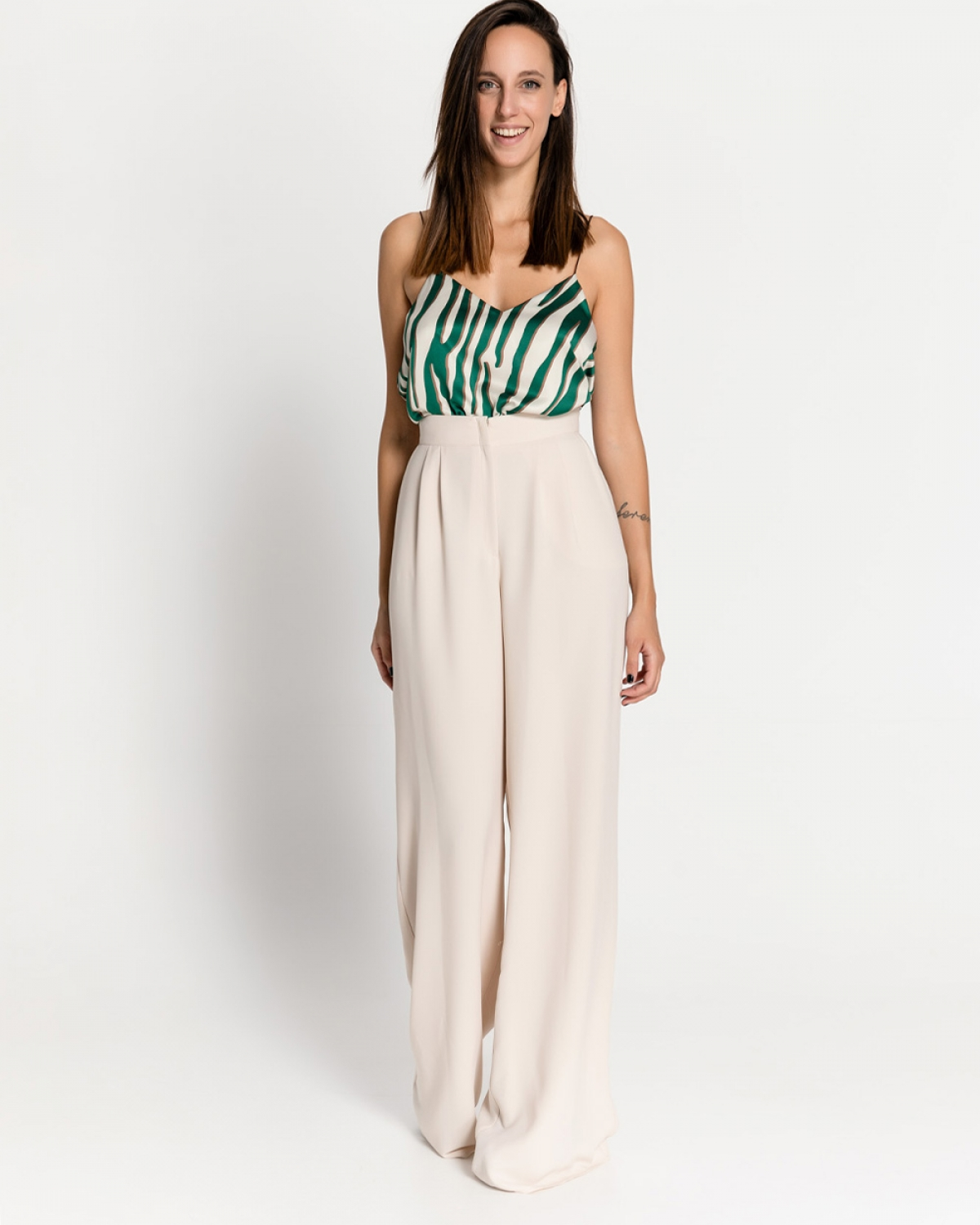Ecru Wide Leg Pants