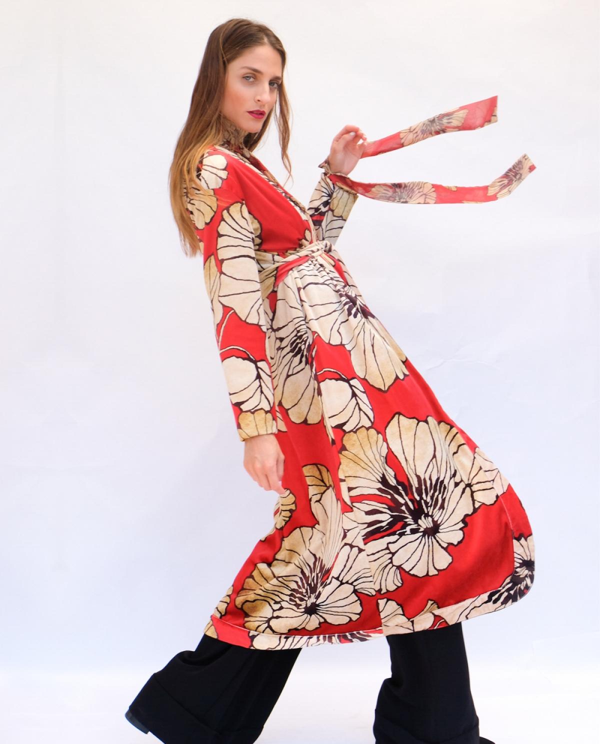 Elizabeth Velvet Printed Long Kimono