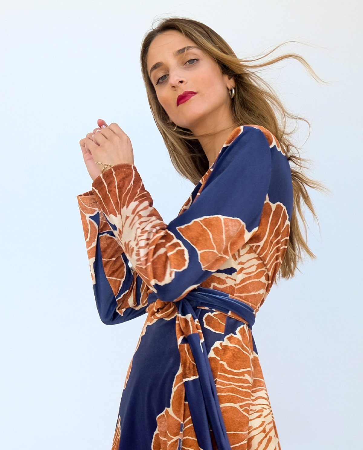 Elizabeth Velvet Printed Wrap Dress