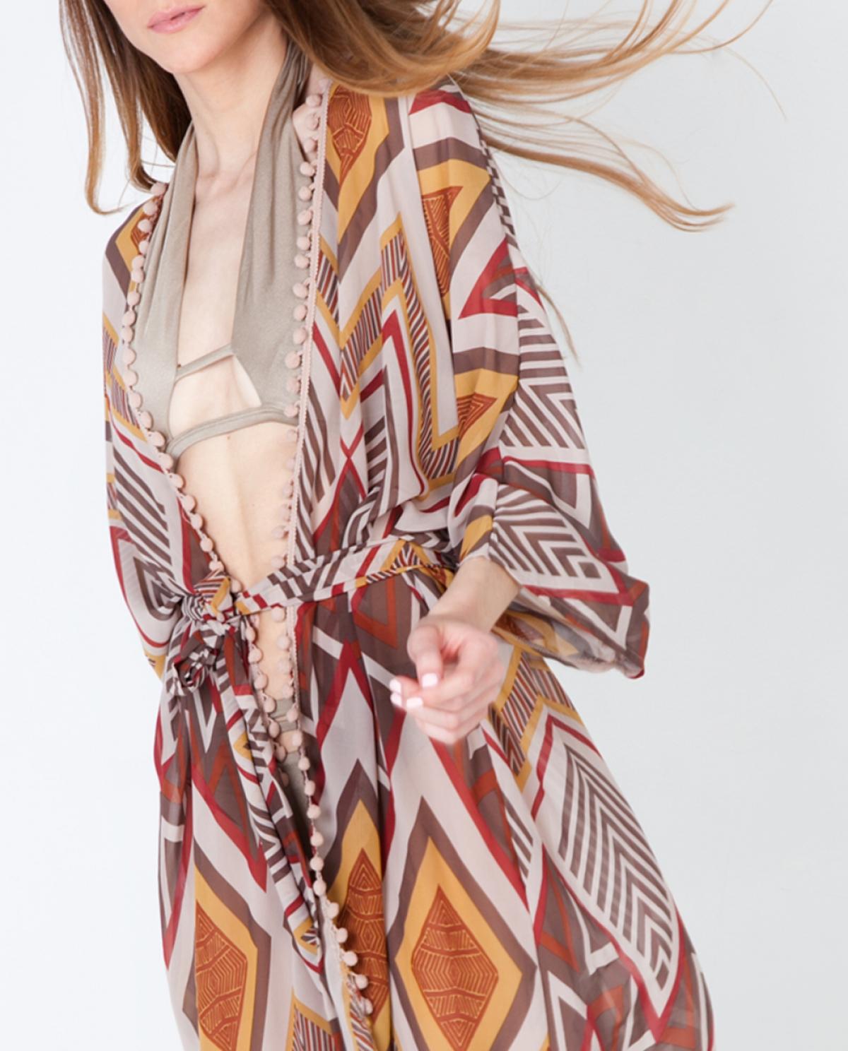 Embellished Printed Kimono