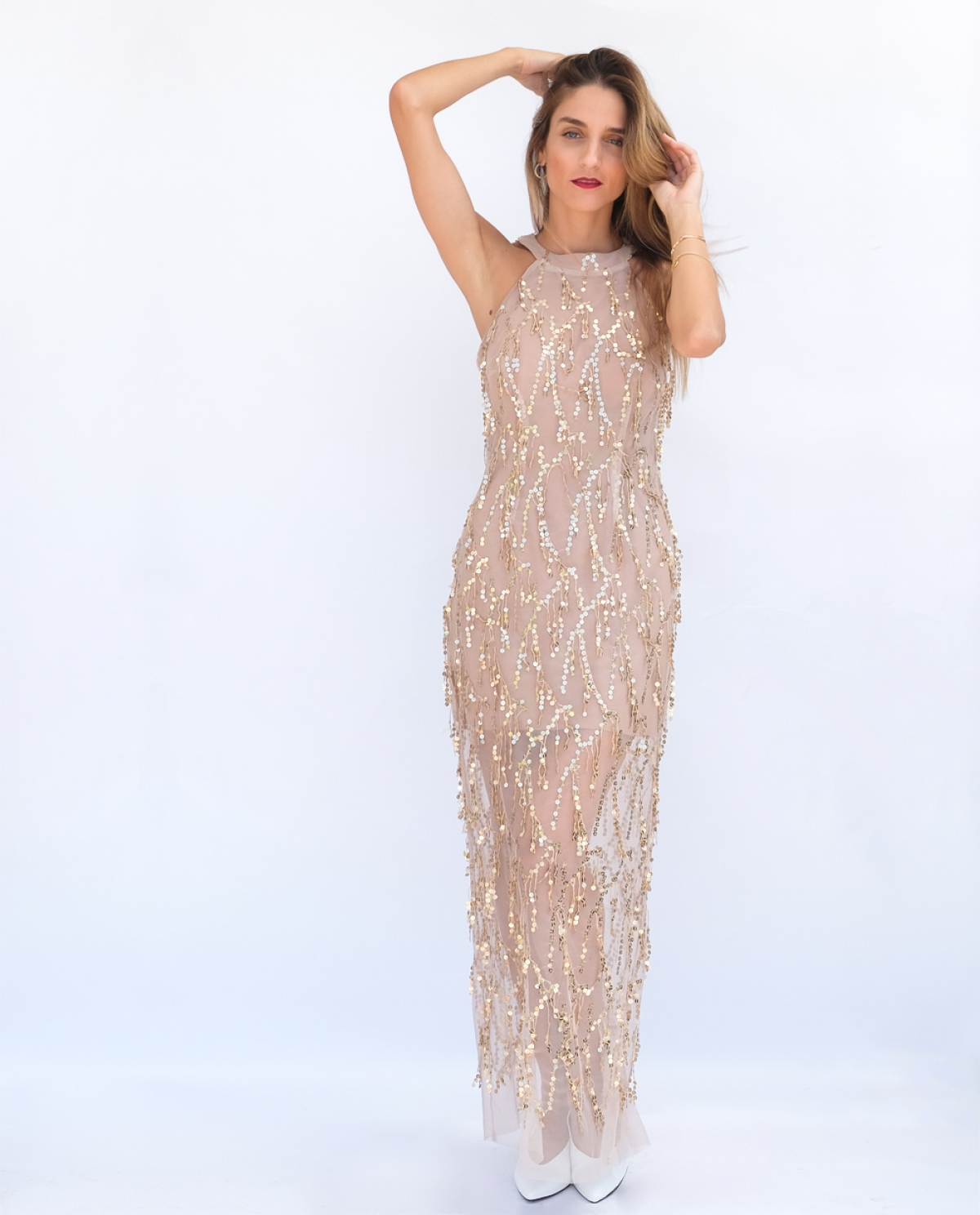 35d9d8a934e9 Embellished Tulle Sequined Maxi Dress