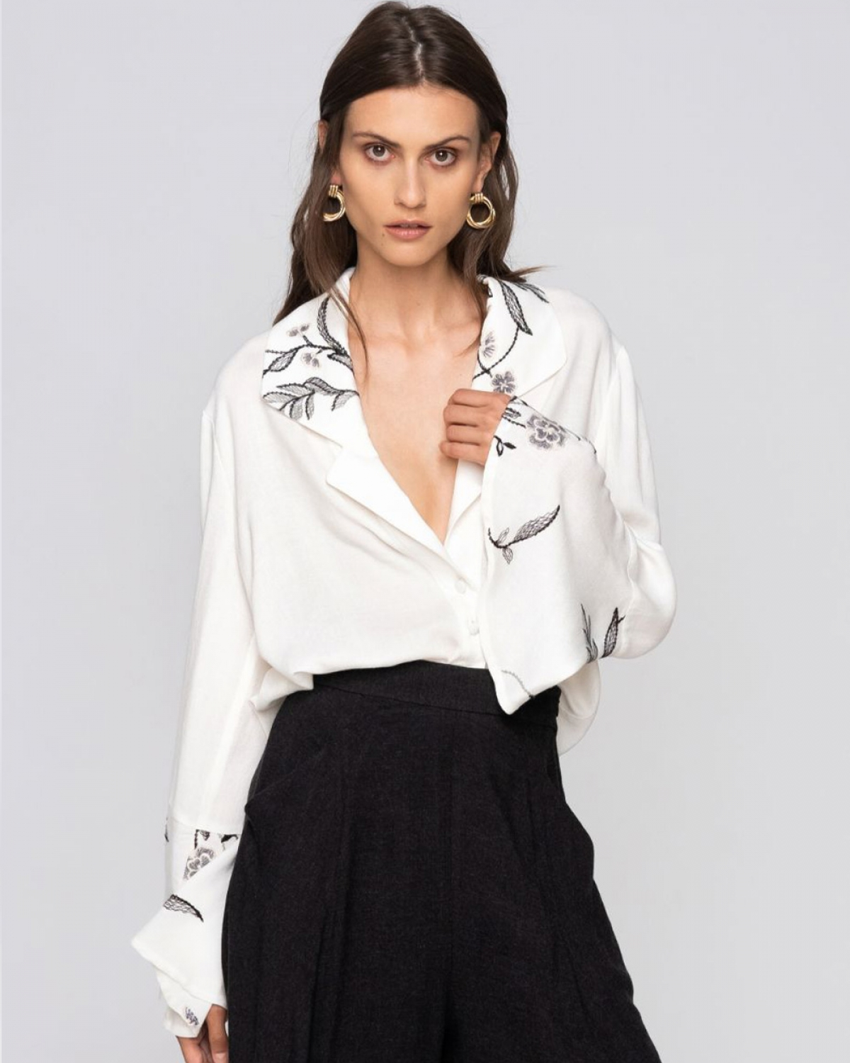 Embroidery White Shirt