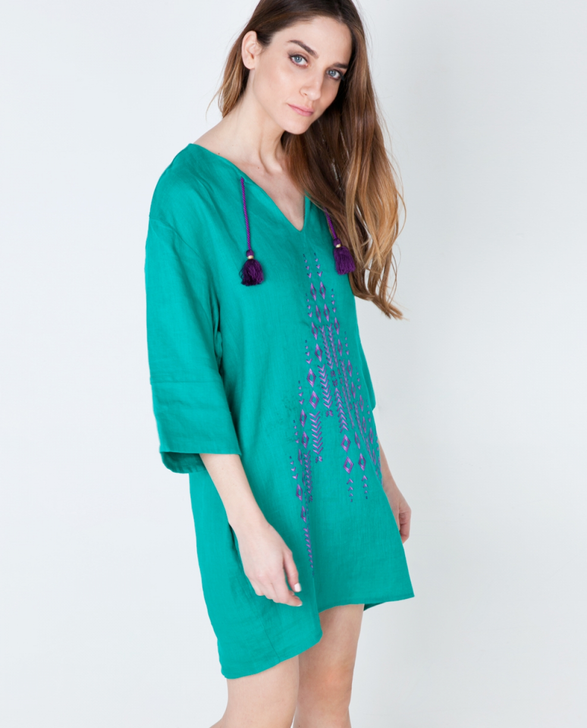 Emerald Viscose Embroidered Dress