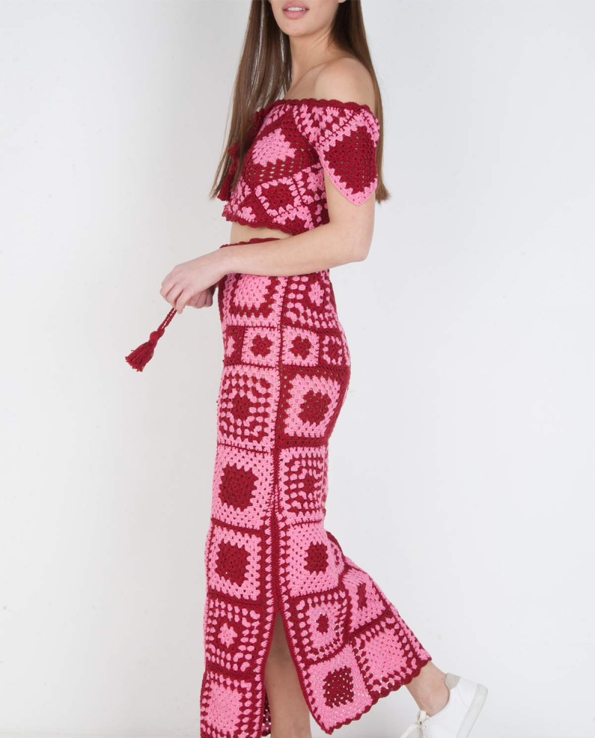 Emy Colour-block Crocheted Midi Skirt