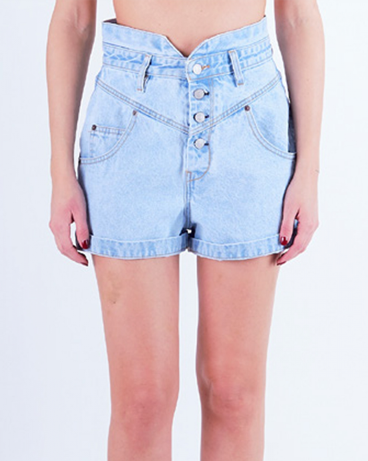 EVELYN Bleached Denim Shorts