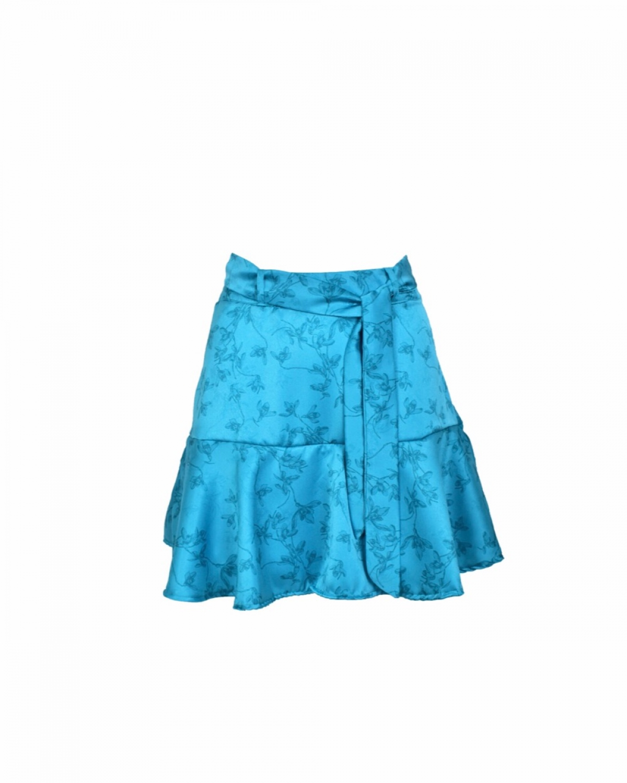 Fleur Satin mini Skirt-Short Petrol