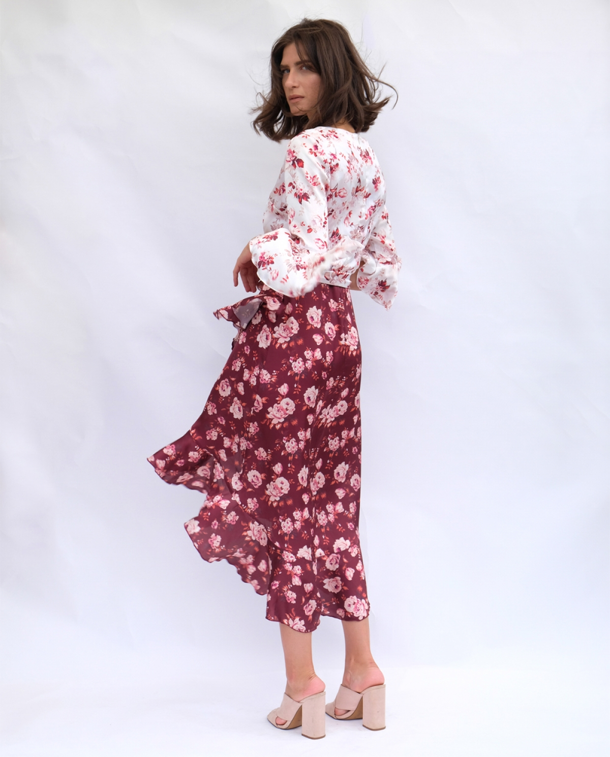 Floral-print Frilled Midi Dress