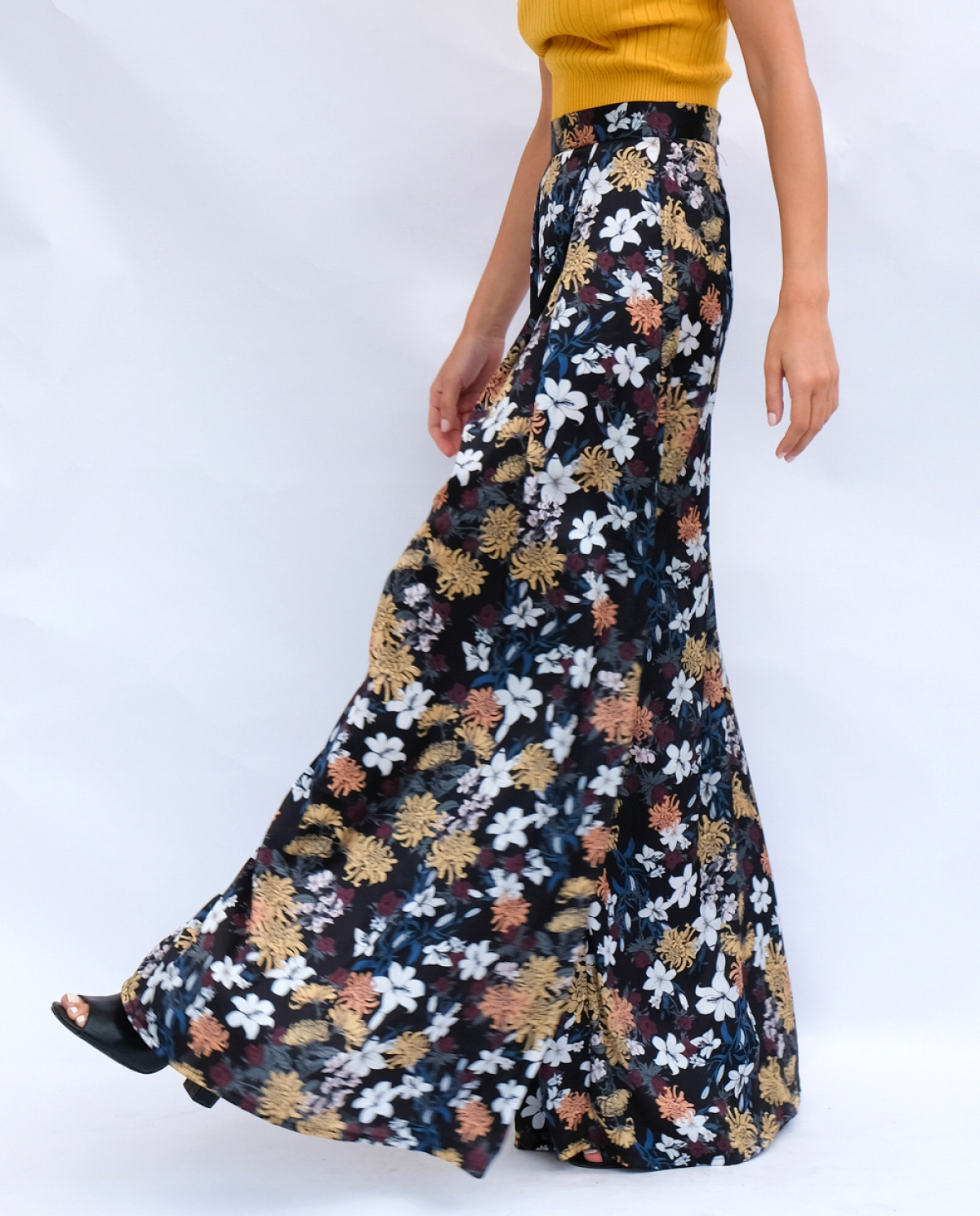 Floral-print Satin Trousers
