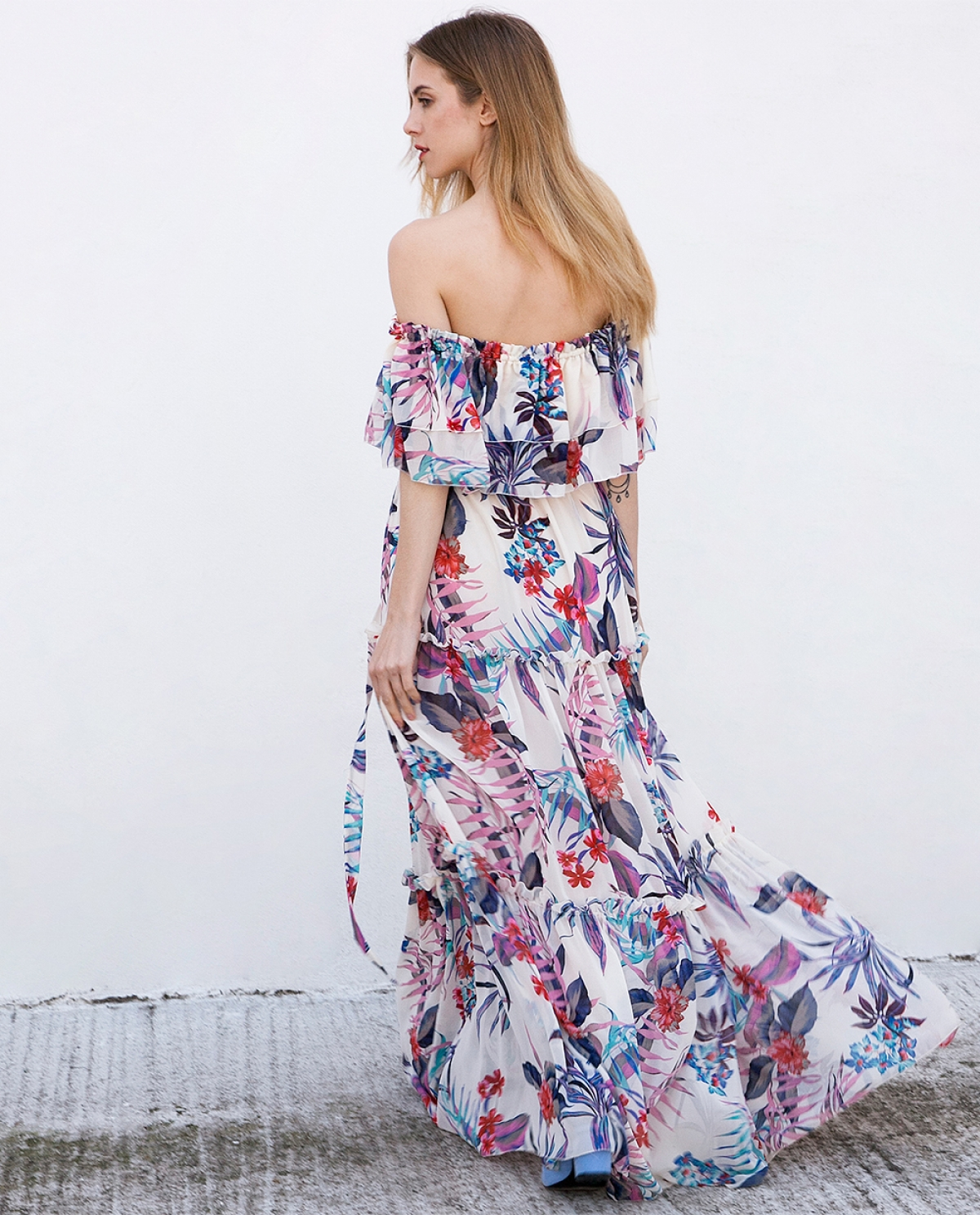 Floral-printed Ruffled Maxi Dress