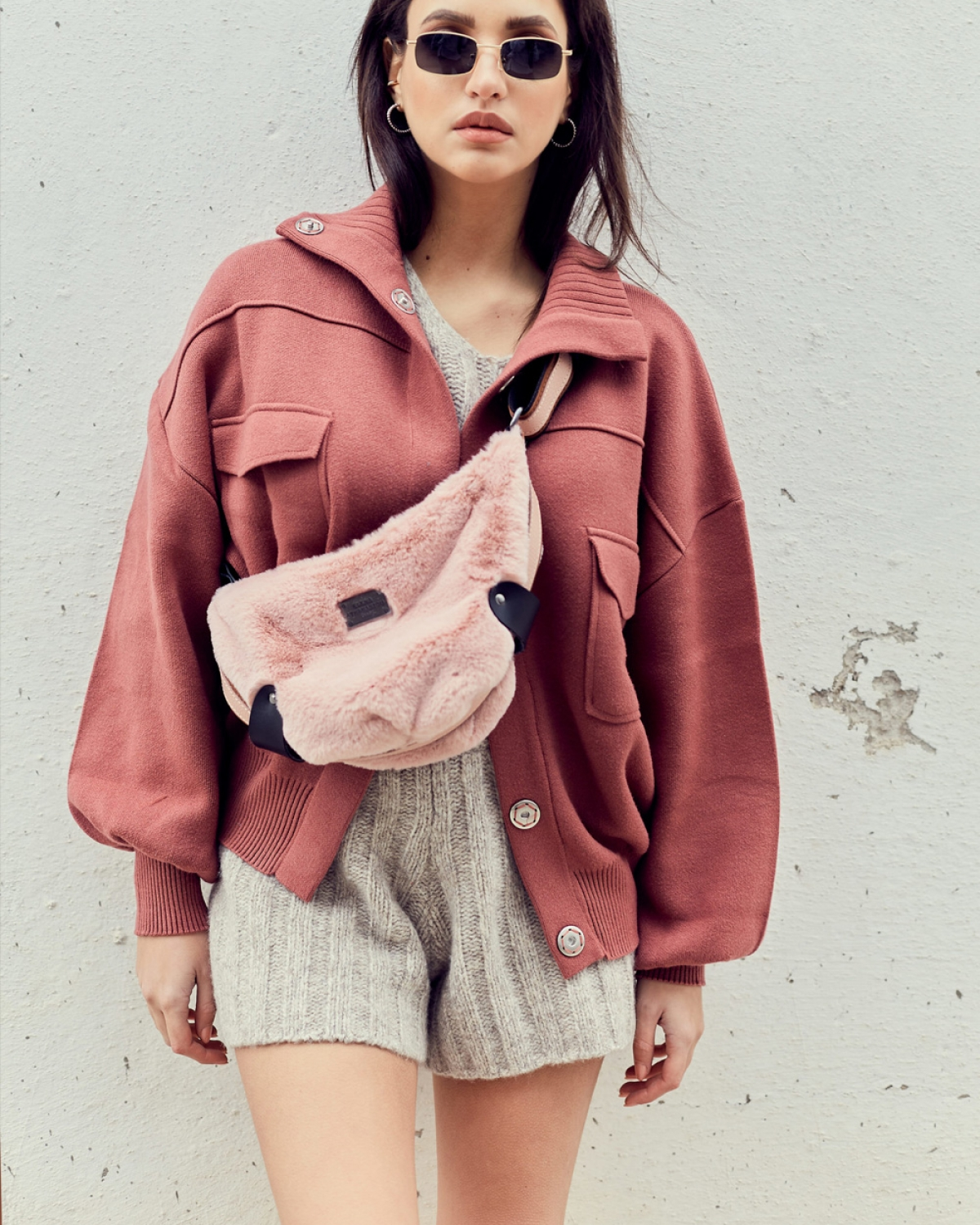 Fluffy Baby Pink Small Bοdy Bag