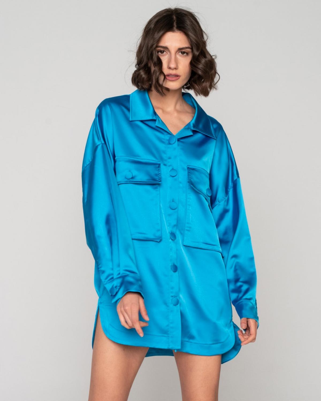 Freesia Shirt Dress Electric