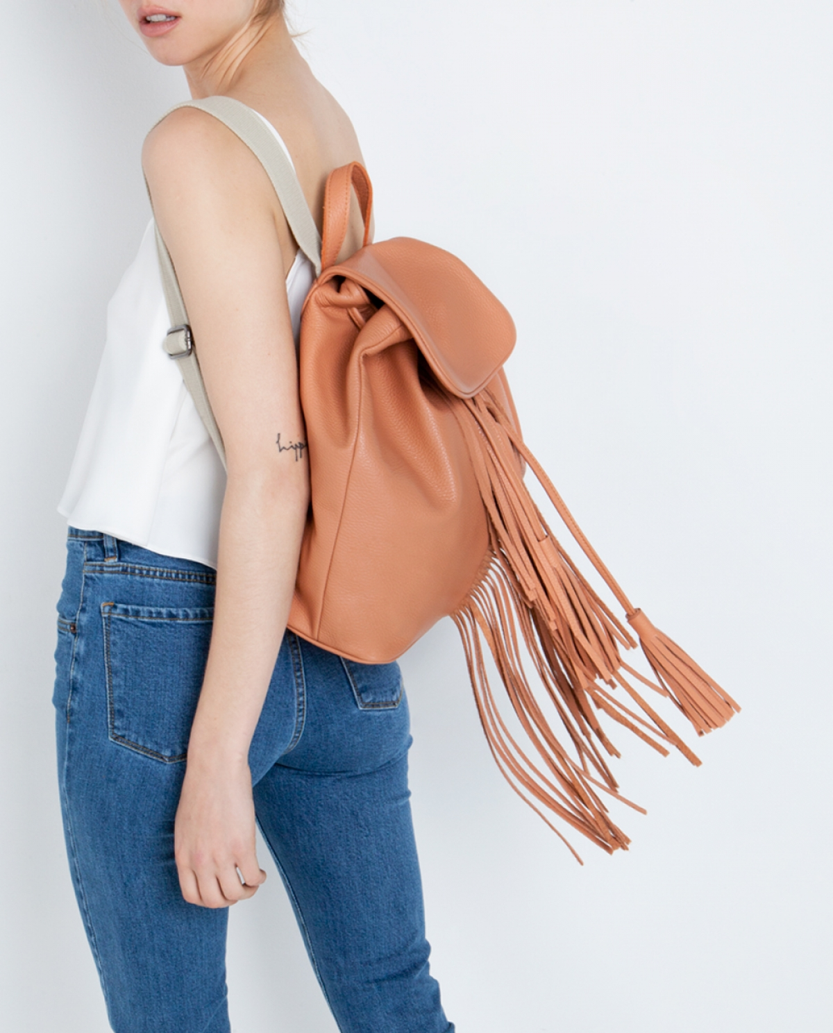Fringed Leather Backpack