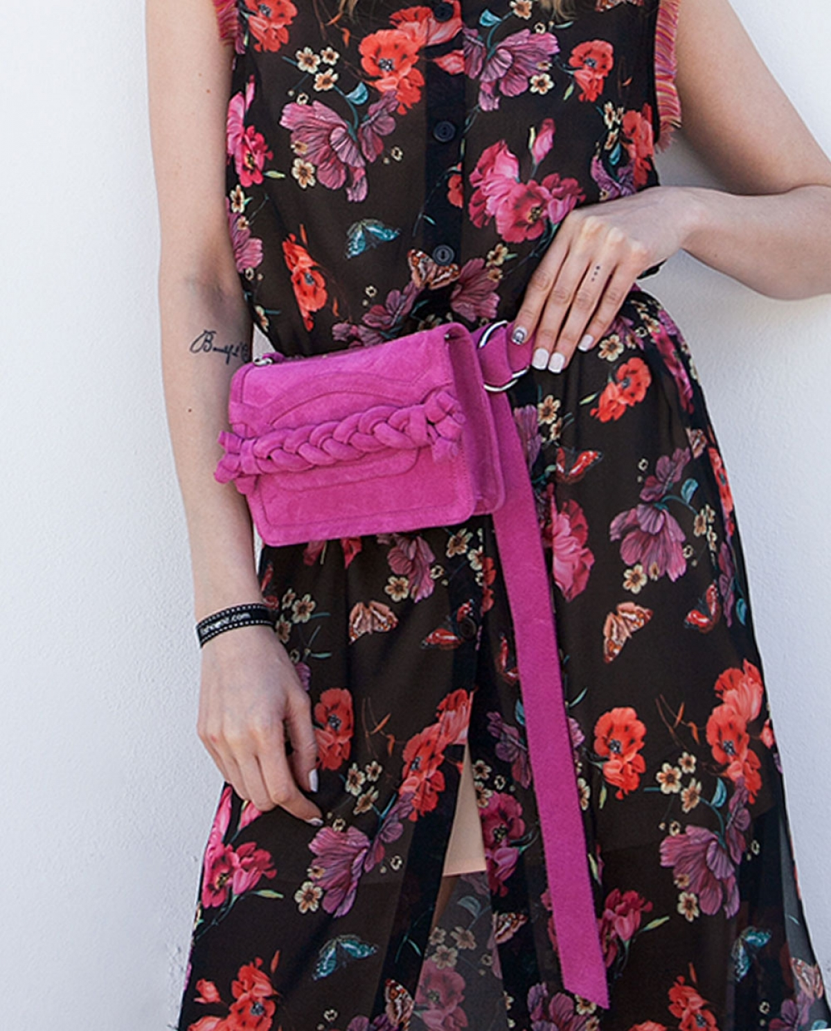 Fuchsia Braided Leather Belt Bag