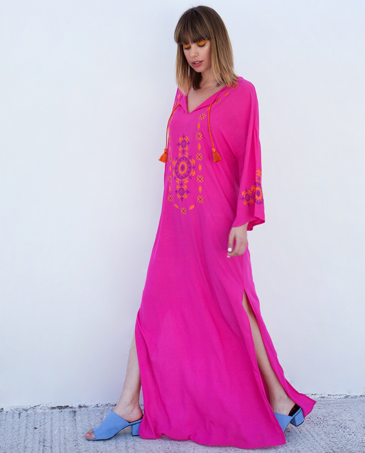 Fuschia Embroidered Viscose Kaftan