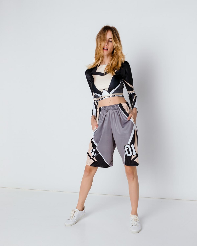 Geometric Nude Glossy Shorts