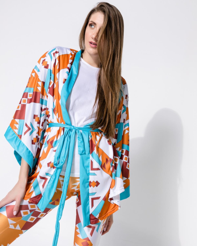 Geometric Orange Puma Punky Kimono