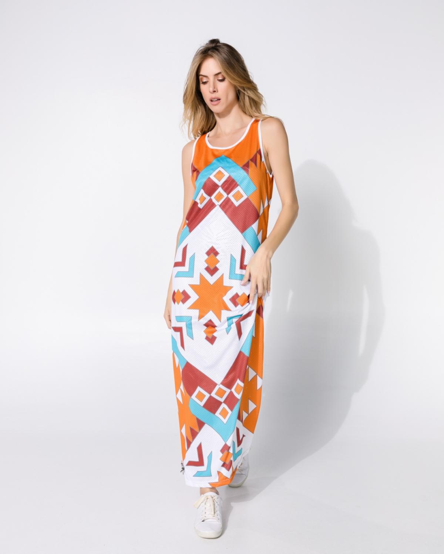 Geometric Orange Puma Punky Long Dress