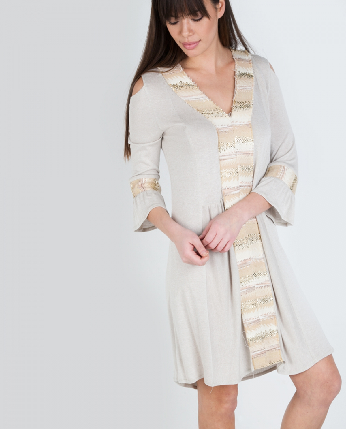Give a Chance Beige Kaftan Dress