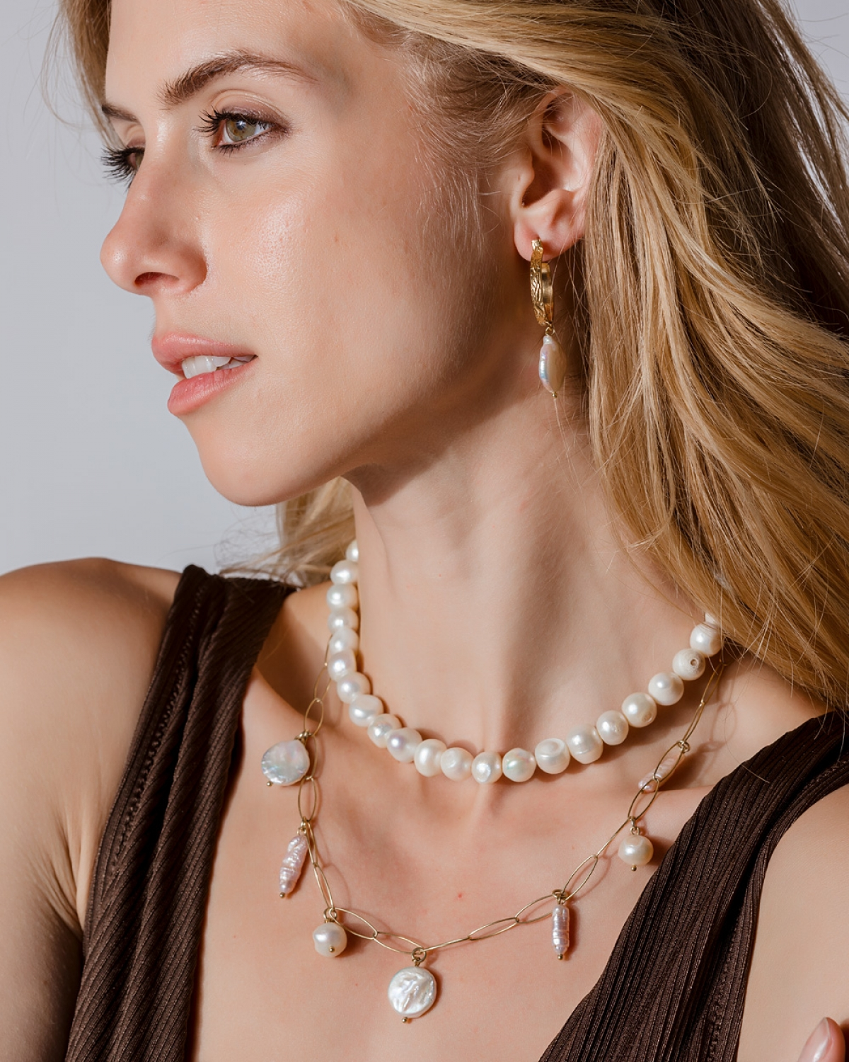 Gold Sand Pearl Necklace