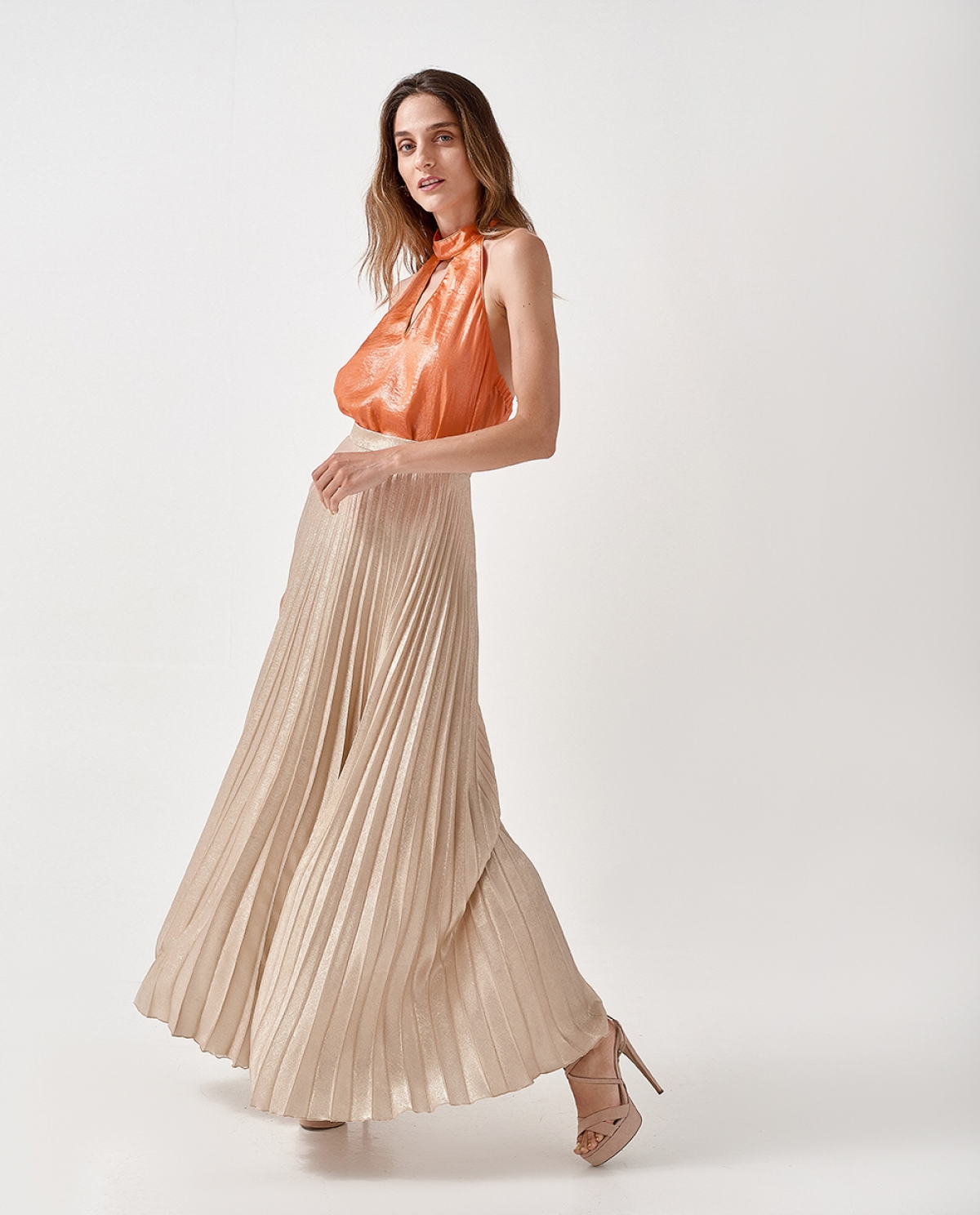 Gold-Tone Pleated Skirt