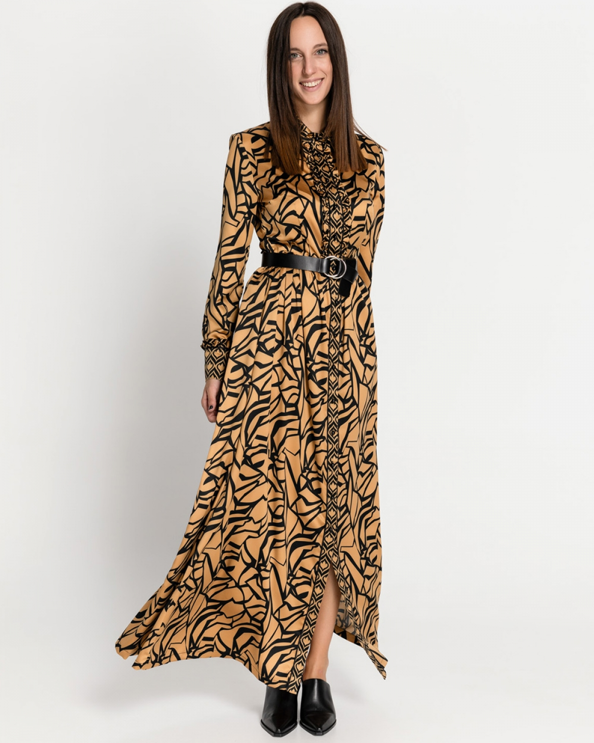 Gold Tone Printed Satin Dress