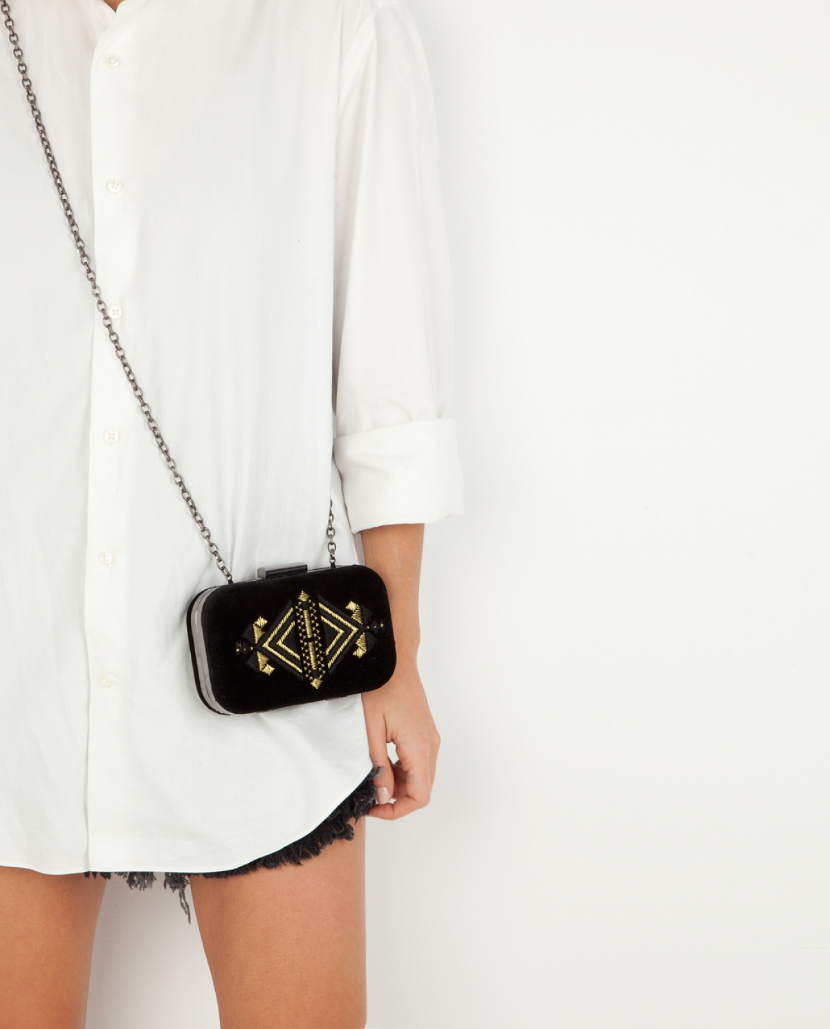 Golden Embroidered Velvet Clutch