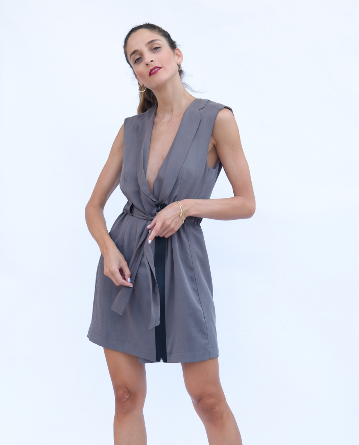 Graphite Zipped Vest Dress