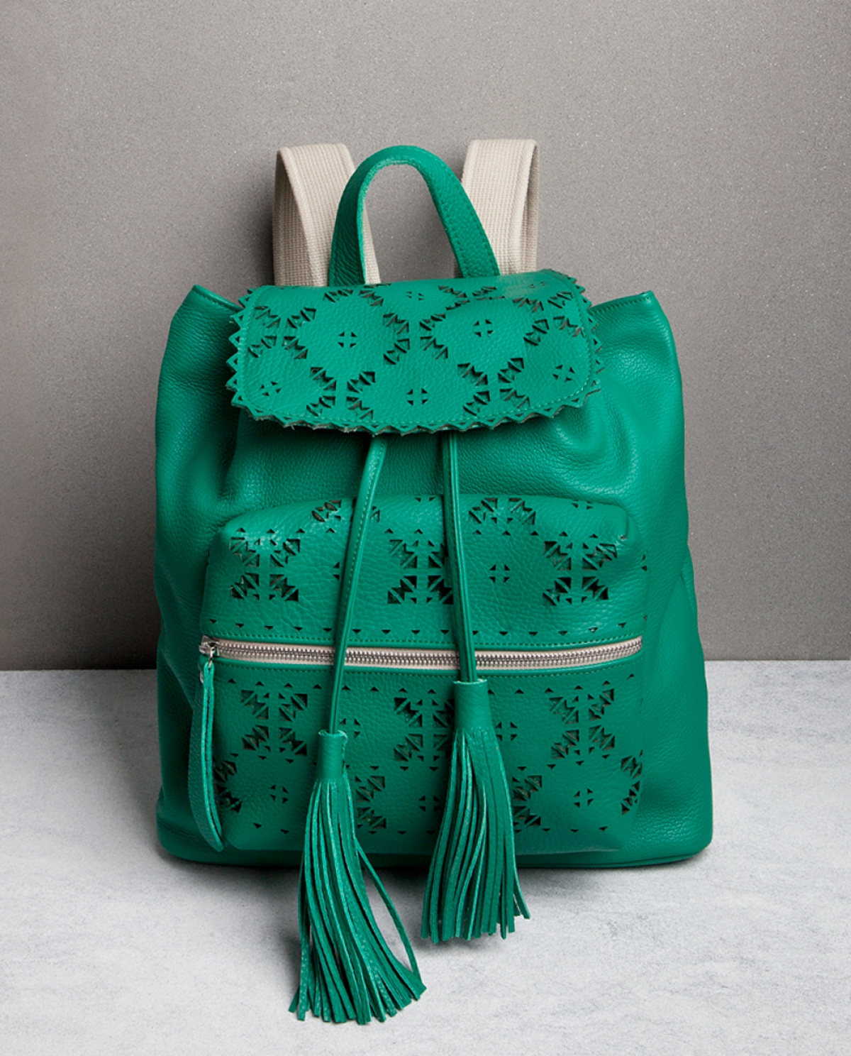 Green Laser-cut Leather Backpack