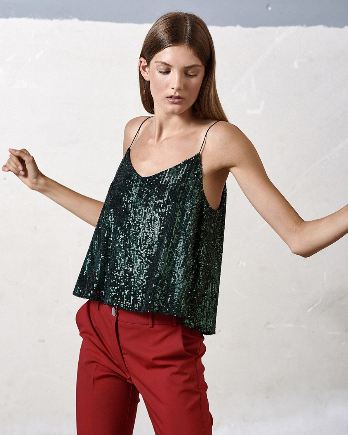 Green Sequined Camisole