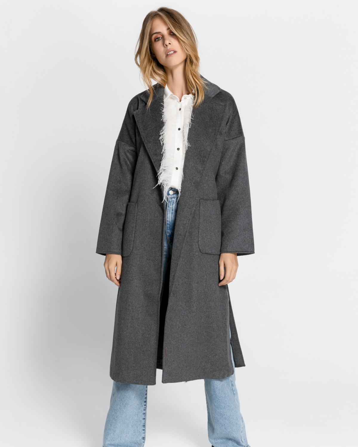 Grey Long Coat with Belt