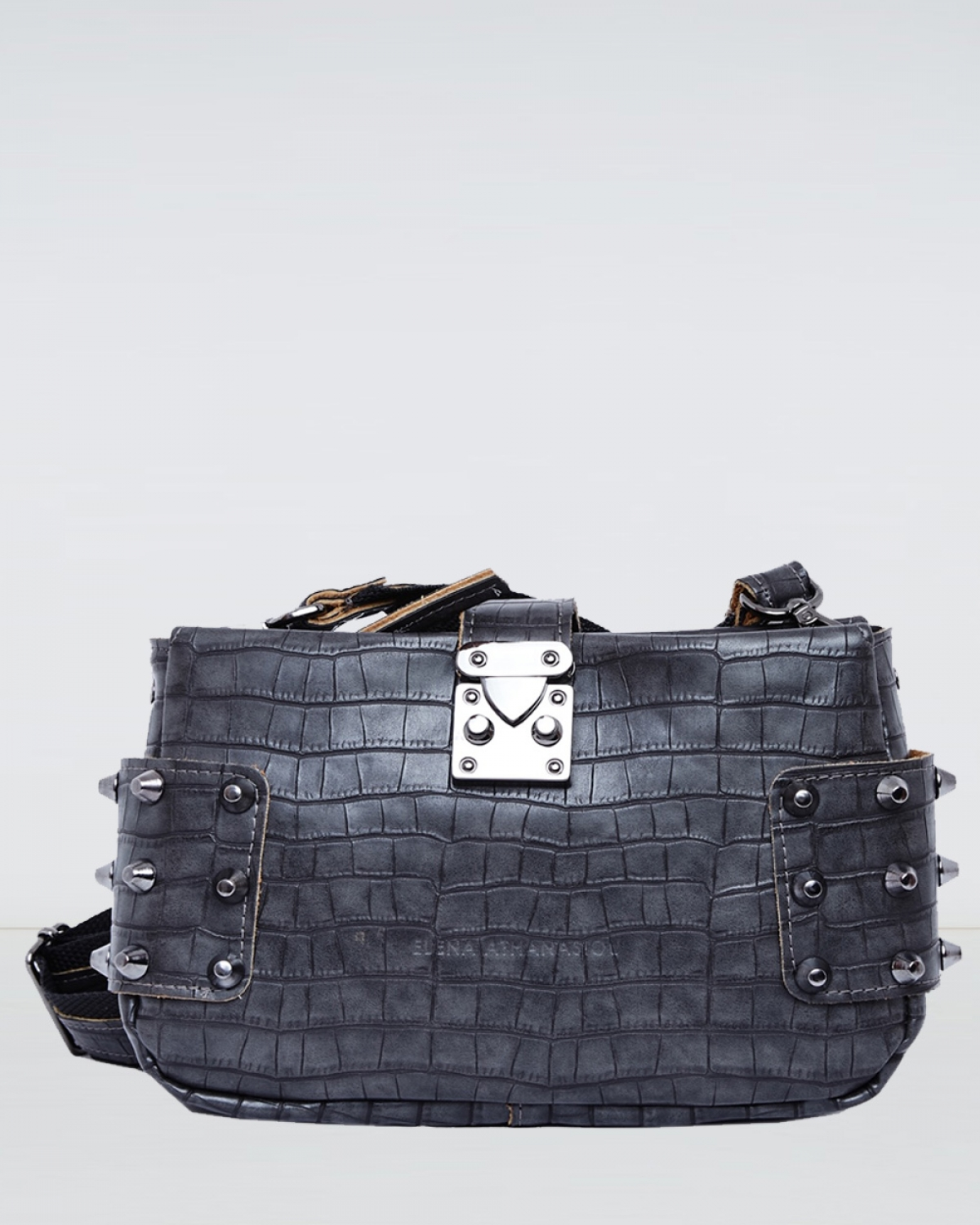 Grey Croco City Lady Clutch