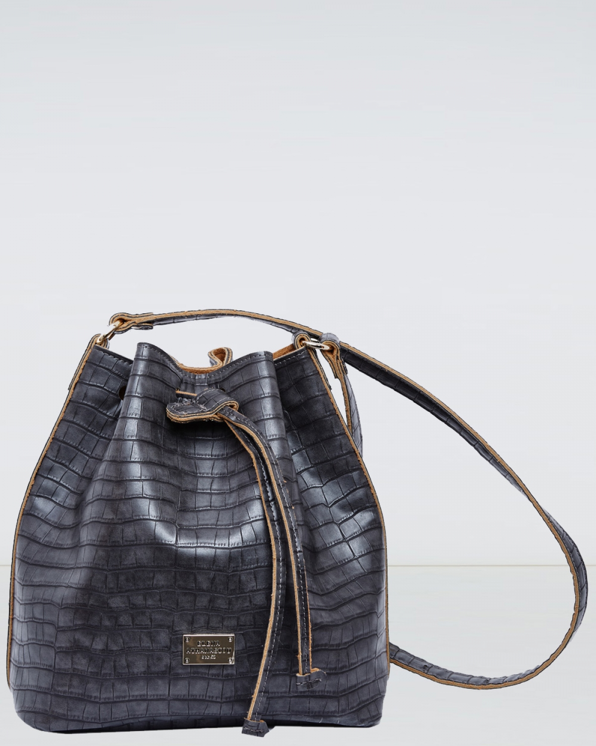 Grey Croco Pattern Pouch Bag