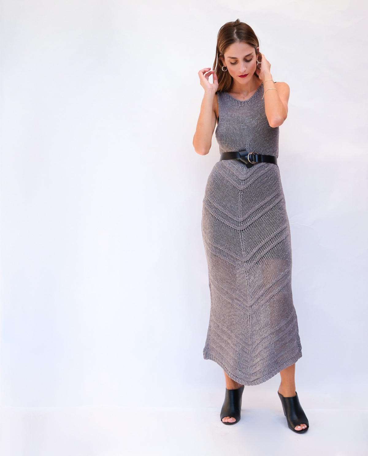 Grey Knitted Long Dress
