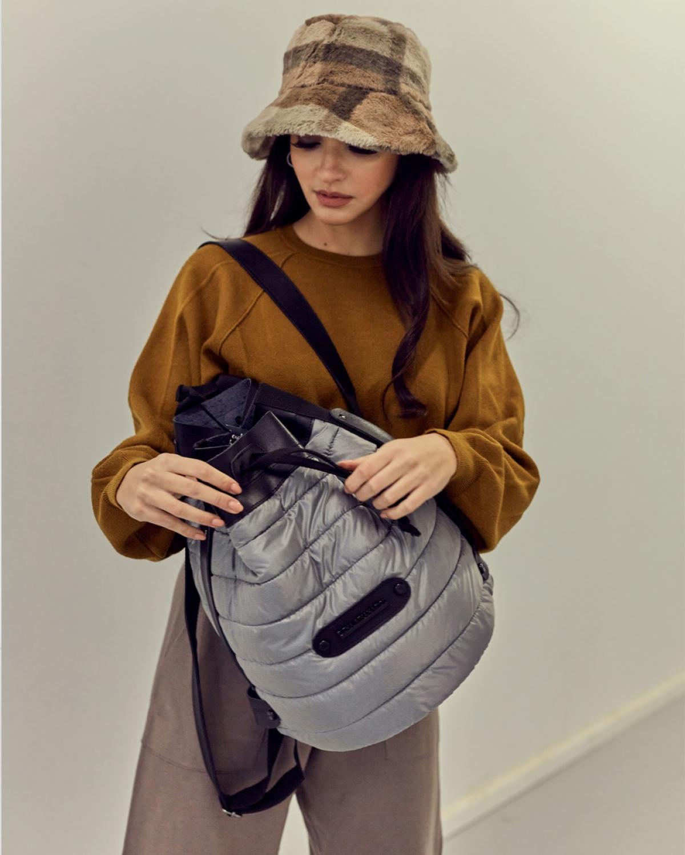 Grey Puffer Backpack