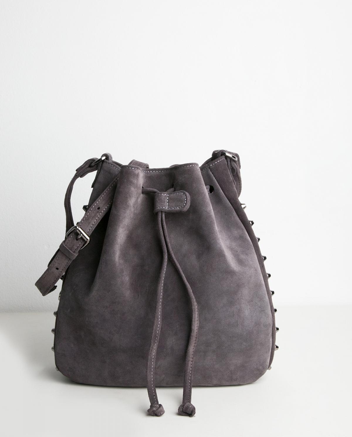 982a2b8c4c08 Grey Suede Bling Pouch Bag - Fashionnoiz