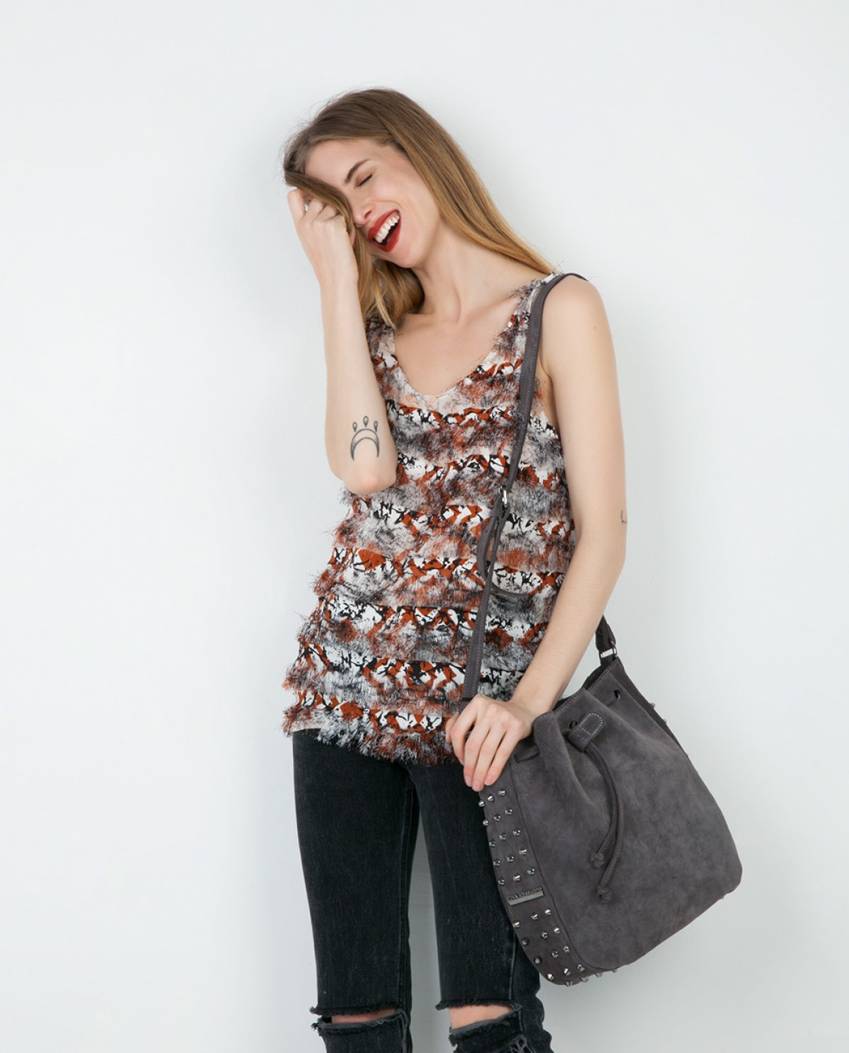 Grey Suede Bling Pouch Bag