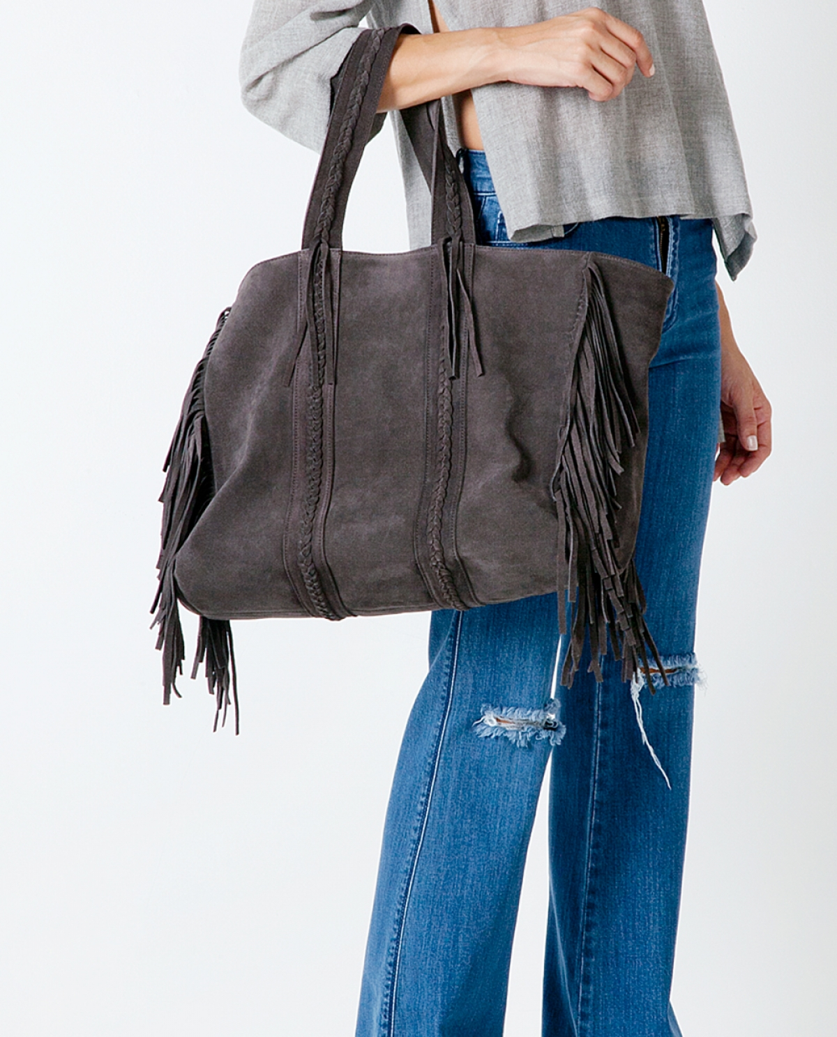 Grey Suede V Bag