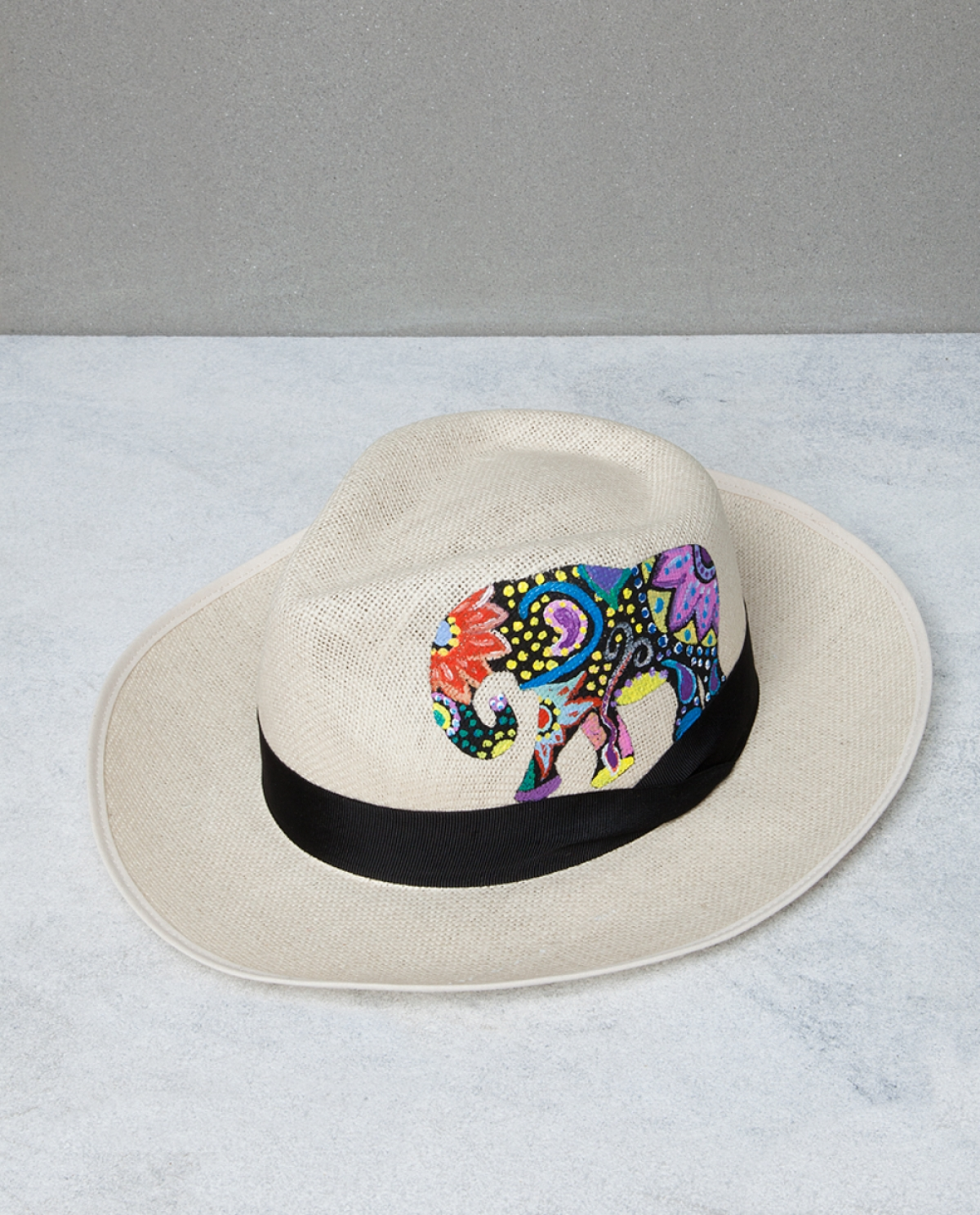 Printed Black Elephant Hat