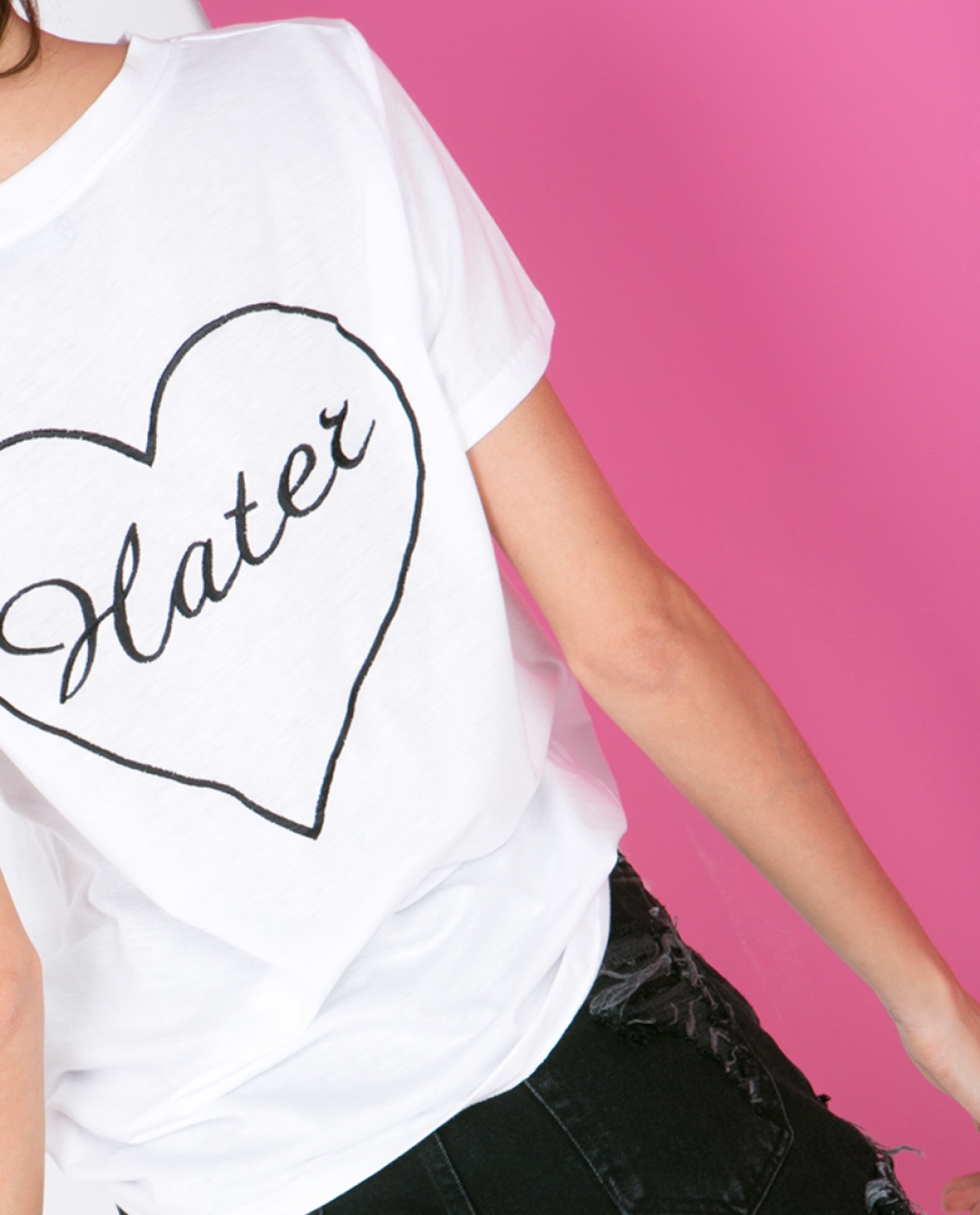 'Hater' Embroidered Cotton T-shirt